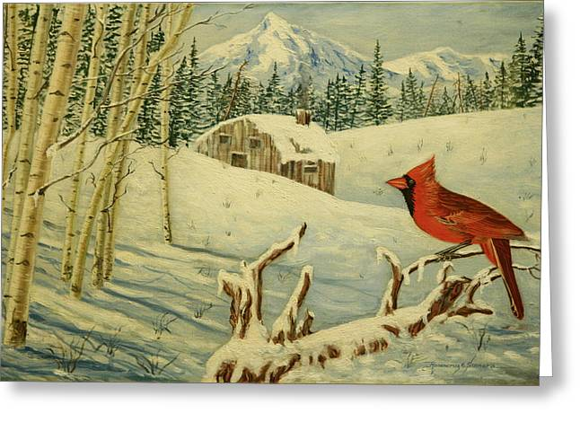 Greeting Card featuring the painting The Cardinal by Rosencruz  Sumera