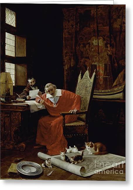 Recently Sold -  - Sit-ins Greeting Cards - The Cardinals Leisure  Greeting Card by Charles Edouard Delort