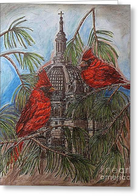 The Cardinals Visit St.pauls Cathedral Greeting Card