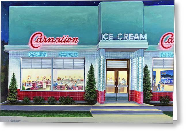 The Carnation Ice Cream Shop Greeting Card