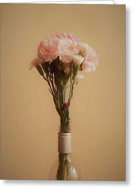 Greeting Card featuring the digital art The Carnations by Ernie Echols