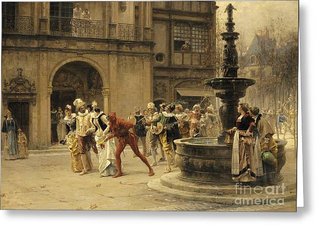 The Carnival Procession Greeting Card by Adrien Moreau