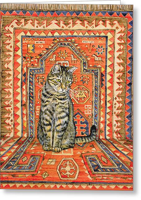 The Carpet Cat Greeting Card by Ditz