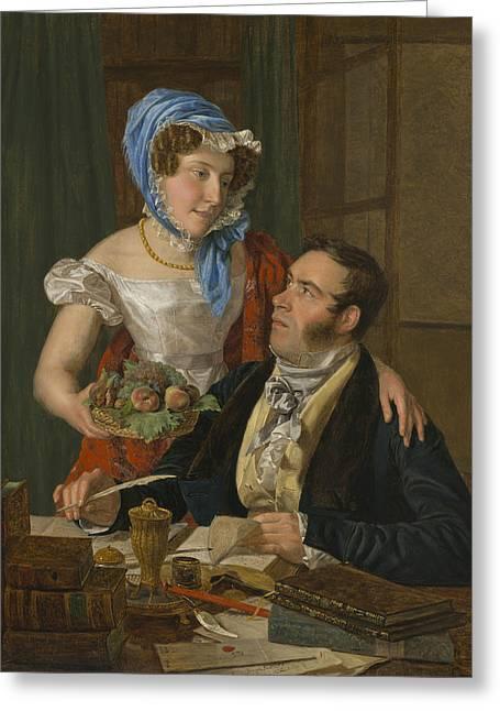 The Cartographer Professor Josef Juttner And His Wife Greeting Card