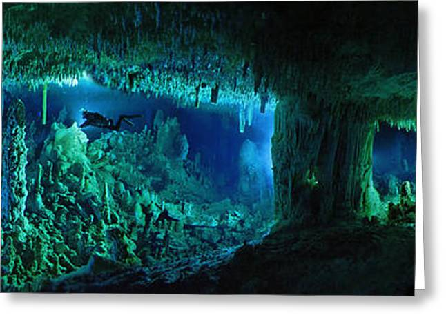 People Greeting Cards - The Cascade Room Leads Divers Deeper Greeting Card by Wes C. Skiles
