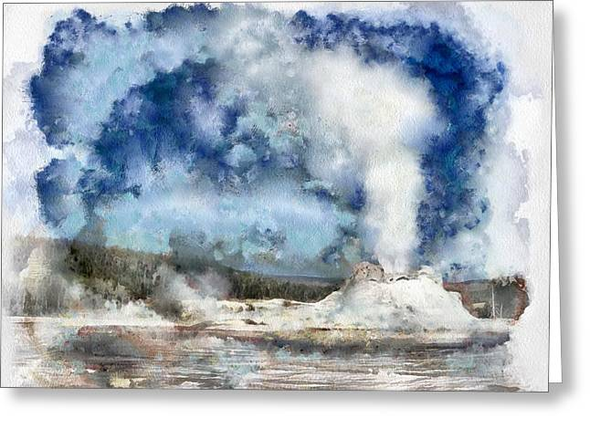 The Castke Geyser In Yellowstone Greeting Card
