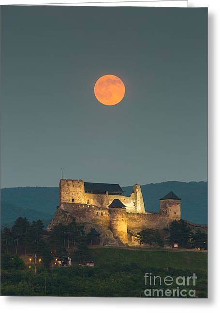 The Castle Of Boldogko At Full Moon Greeting Card