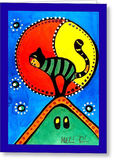 The Cat And The Moon - Cat Art By Dora Hathazi Mendes Greeting Card by Dora Hathazi Mendes