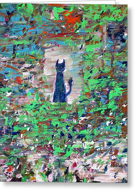 Greeting Card featuring the painting The Cat In The Garden by Fabrizio Cassetta