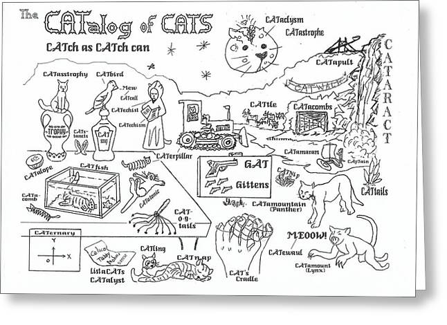 The Catalog Of Cats Greeting Card by Hank Roll