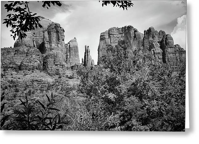 The Cathedral - Sedona Arizona - Red Rock Crossing - Black And White  Greeting Card by Gregory Ballos