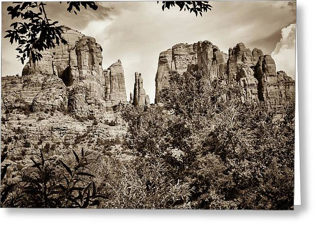 The Cathedral - Sedona Arizona - Red Rock Crossing - Sepia Greeting Card by Gregory Ballos