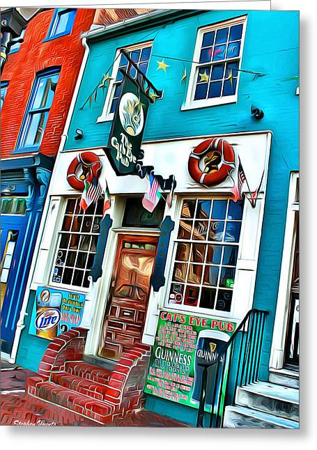 The Cat's Eye Pub Greeting Card by Stephen Younts