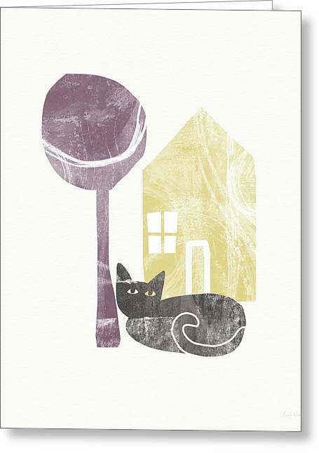 The Cat's House- Art By Linda Woods Greeting Card by Linda Woods