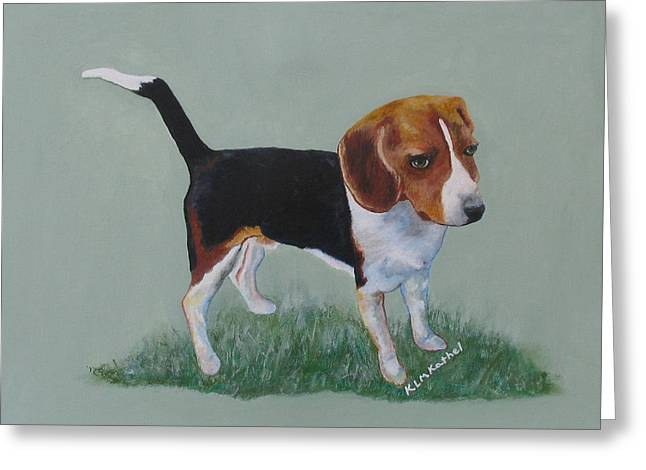 Greeting Card featuring the painting The Cautious Beagle by KLM Kathel