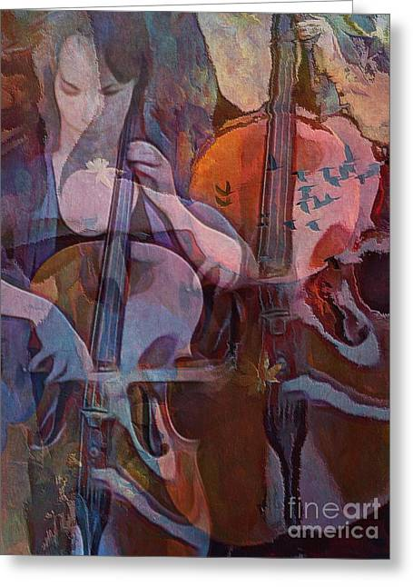 The Cellist Greeting Card by Alexis Rotella