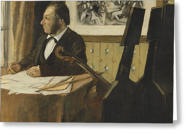 The Cellist Pilet 1868 - 1869 Greeting Card by Edgar Degas