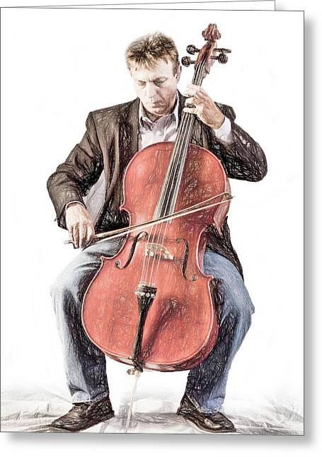 Greeting Card featuring the photograph The Cello Player In Sketch by David and Carol Kelly