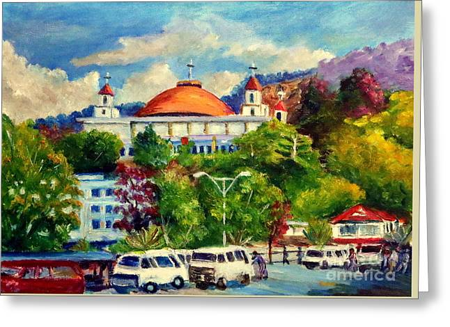 The Central Taxi Terminal In Jayapura Greeting Card