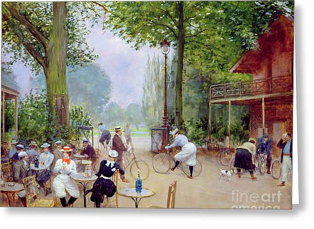 Chalet Greeting Cards - The Chalet du Cycle in the Bois de Boulogne Greeting Card by Jean Beraud