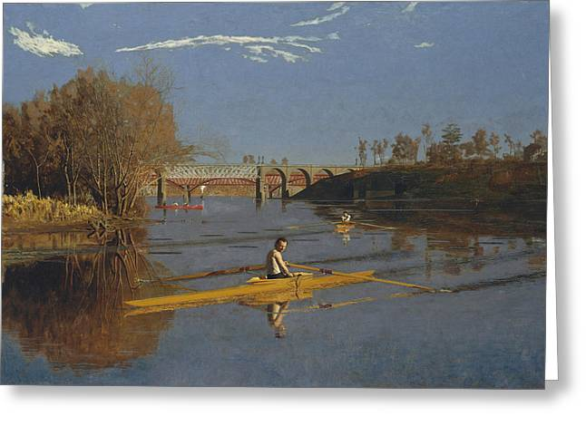 The Champion Single Sculls Greeting Card by Thomas Eakins