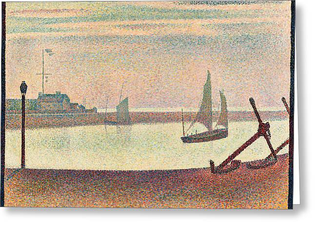 The Channel At Gravelines, Evening Greeting Card by Georges Seurat