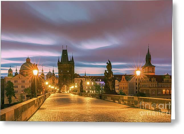 The Charles Bridge In Prague At Sunrise Greeting Card