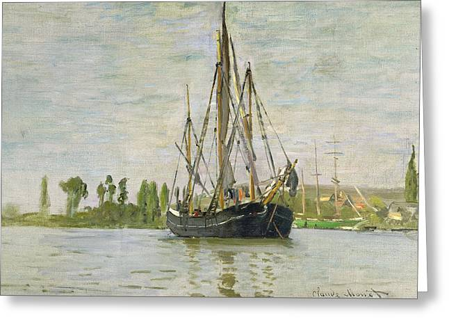 The Chasse Maree At Anchor Greeting Card by Claude Monet