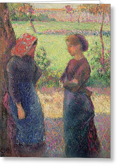 Apron Greeting Cards - The Chat Greeting Card by Camille Pissarro