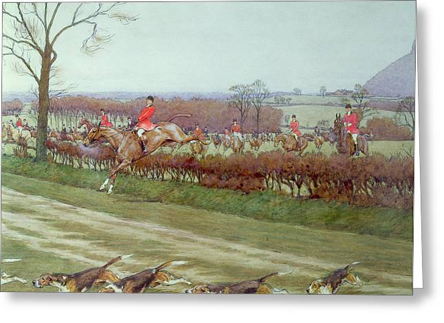 Hunt Greeting Cards - The Cheshire away from Tattenhall Greeting Card by Cecil Charles Windsor Aldin