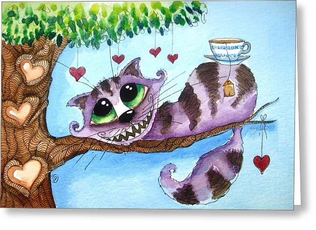 The Cheshire Cat - Tea Anyone Greeting Card by Lucia Stewart