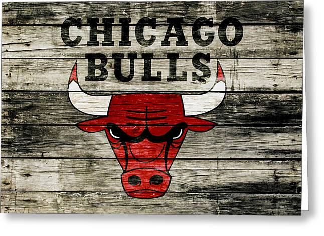 The Chicago Bulls Wood Art Greeting Card by Brian Reaves