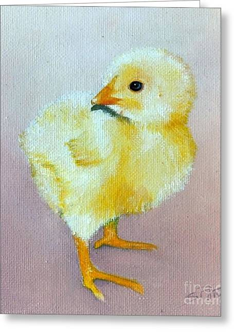 Greeting Card featuring the painting The Chick by Sandra Phryce-Jones