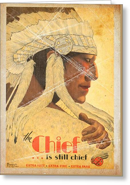The Chief Train - Vintage Poster Folded Greeting Card