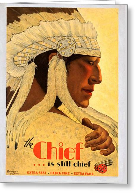 The Chief Train - Vintage Poster Restored Greeting Card