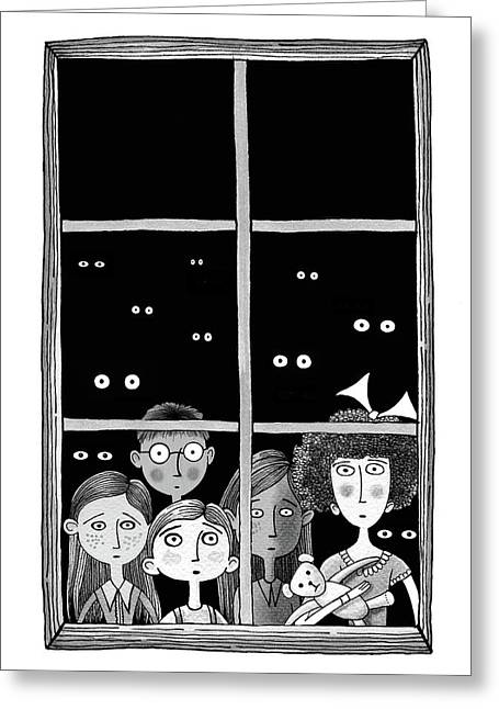 The Children In The Window Greeting Card by Andrew Hitchen