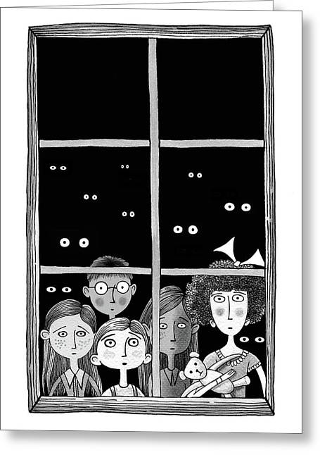 The Children In The Window Greeting Card