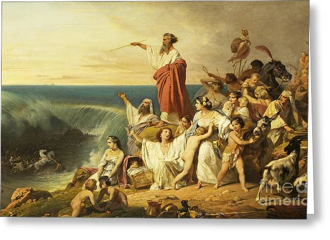The Children Of Israel Crossing The Red Sea Greeting Card by Henri-Frederic Schopin