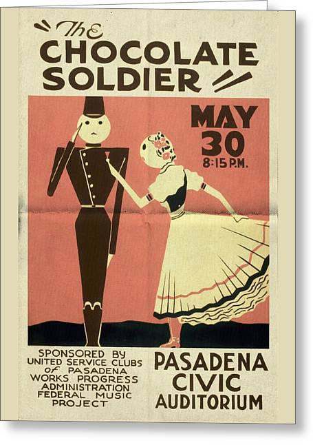 The Chocolate Soldier - Vintage Poster Folded Greeting Card
