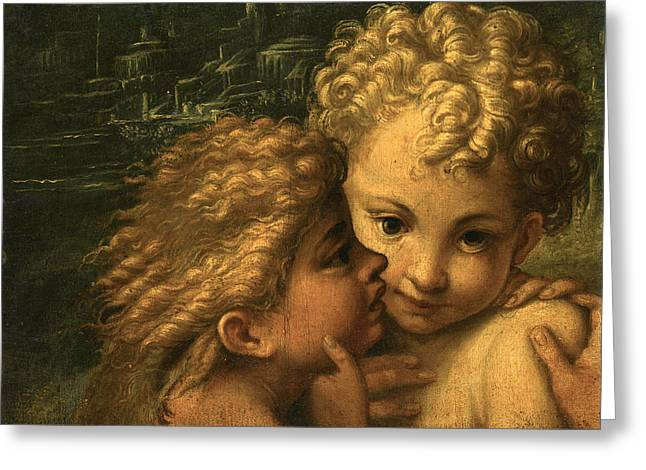 The Christ Child And The Infant Saint John The Baptist Greeting Card