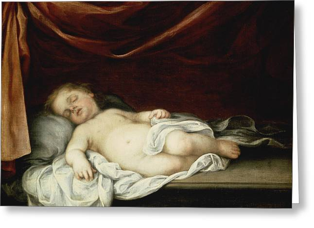 The Christ Child Asleep Greeting Card by Bartolome Esteban Murillo