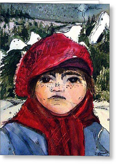 The Christmas Dreamer Greeting Card by Mindy Newman