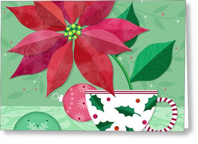 The Christmas Poinsettia Greeting Card by Valerie Drake Lesiak