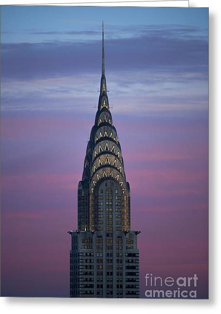 The Chrysler Building At Dusk Greeting Card by Diane Diederich