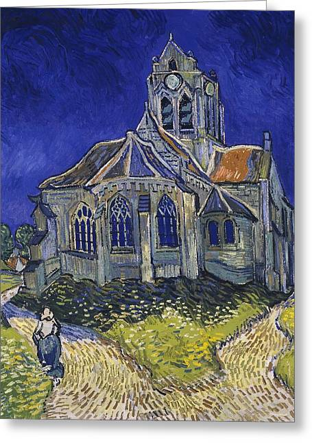 Greeting Card featuring the painting The Church At Auvers by Van Gogh