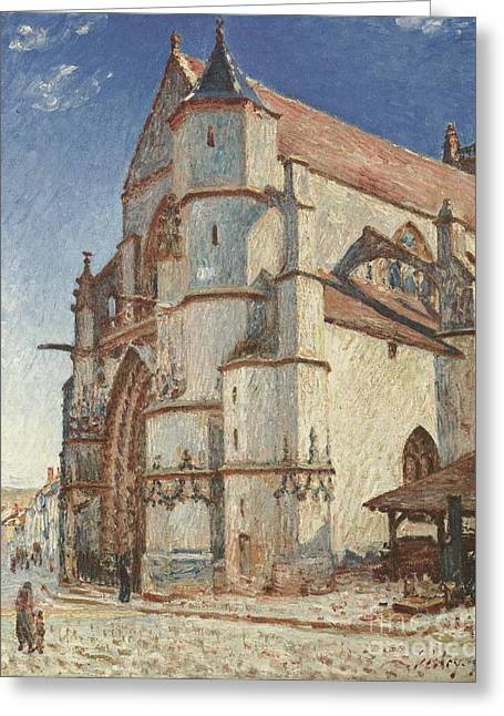 The Church At Moret In Morning Sun Greeting Card by Celestial Images
