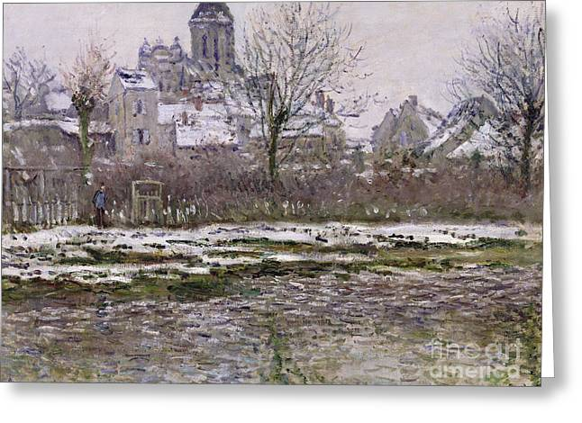 The Church At Vetheuil Under Snow Greeting Card by Claude Monet