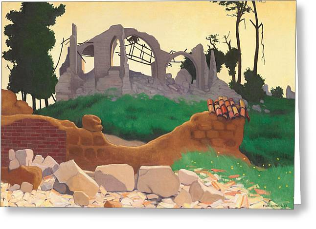 The Church Of Souain Greeting Card by Felix Edouard Vallotton