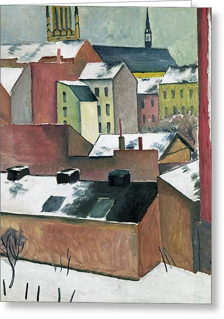 The Church Of St Mary In Bonn In Snow Greeting Card by August Macke