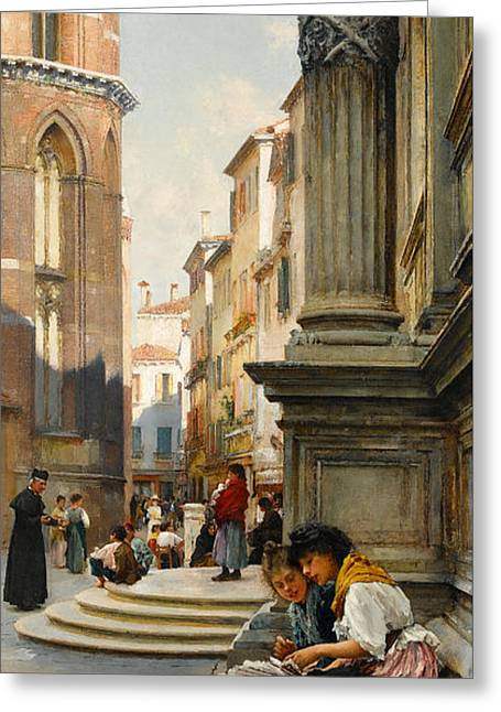 The Church Of The Frari And School Of San Rocco, Venice Greeting Card by Henry Woods